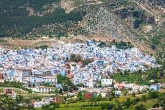 Flyg- sikt av Chefchaouen, Marocko Royaltyfria Foton