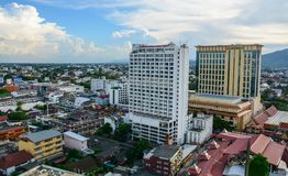 Flyg- sikt av Chiang Mai, Thailand Arkivfoto
