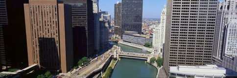 Flyg- sikt av Chicago Arkivfoton
