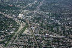 Flyg- sikt av Chicago trafik arkivfoto