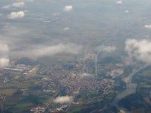 Flyg- sikt av Chivasso Arkivfoto