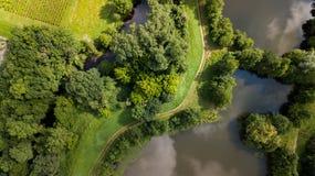 Flyg- sikt av Ciron och skogen, Gironde, Frankrike arkivfoto