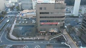 Flyg- sikt av cityscape och landskapet med trafikv?gen av den Narita staden fr?n h?g byggnad p? den Chiba prefekturen i Tokyo, Ja lager videofilmer