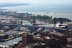 Flyg- sikt av Cleveland, Ohio Arkivfoton