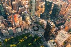Flyg- sikt av Columbus Circle i NYC Royaltyfria Foton