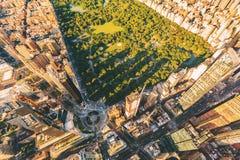 Flyg- sikt av Columbus Circle och Central Park i NY-stad Royaltyfria Bilder