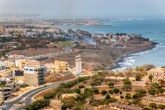 Flyg- sikt av Dakar Arkivbild