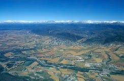 Flyg- sikt av dalen av Rio Aragon Royaltyfria Foton