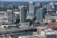 Flyg- sikt av Dallas, Texas arkivfoton