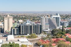 Flyg- sikt av delen av området för central affär i Windhoek Royaltyfria Bilder