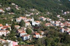 Flyg- sikt av den Agerola byn jpg Fotografering för Bildbyråer