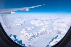 Flyg- sikt av den arktiska cirkeln vid ariplane Royaltyfri Fotografi