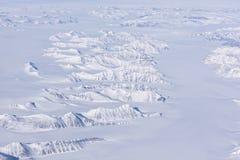 Flyg- sikt av den arktiska cirkeln vid ariplane Arkivfoton