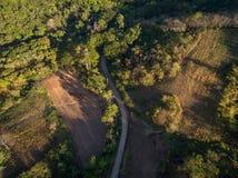 Flyg- sikt av den asfaltvägen, lantgården och skogen Royaltyfria Foton