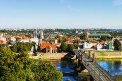 Flyg- sikt av den berömda staden Kaunas, Litauen under den soliga dagen Royaltyfri Foto