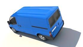 Flyg- sikt av den blåa skåpbilen Royaltyfri Fotografi