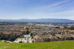 Flyg- sikt av den bostads- grannskapen, San Jose, Kalifornien fotografering för bildbyråer