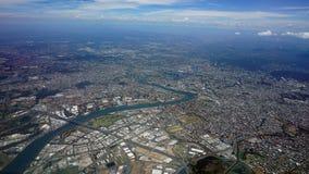 Flyg- sikt av den Brisbane staden och omnejd Queensland Australien Royaltyfri Bild