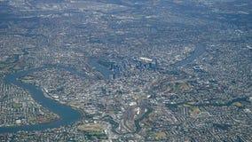 Flyg- sikt av den Brisbane staden och omnejd Queensland Australien Arkivbild