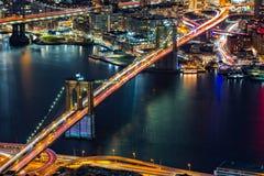 Flyg- sikt av den Brooklyn bron Arkivfoto