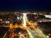Flyg- sikt av den Bucharest staden royaltyfri fotografi