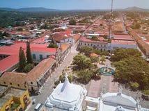 Flyg- sikt av den centrala fyrkanten av den Leon staden arkivfoto