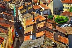 Flyg- sikt av den Cluny staden i Frankrike Royaltyfria Bilder