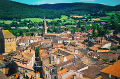 Flyg- sikt av den Cluny staden i Frankrike Arkivbild