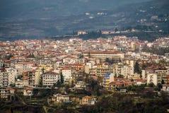 Flyg- sikt av den Edessa staden, Grekland, Europa arkivfoto