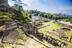 Flyg- sikt av den forntida roman amfiteatern Royaltyfri Fotografi