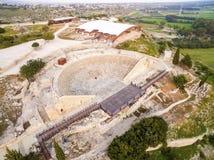 Flyg- sikt av den forntida teatern av Kourion Royaltyfria Foton