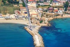 Flyg- sikt av den forntida tonfiskfiskerin i Avola, Sicilien Royaltyfri Foto