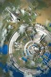 flyg- sikt av den futuristiska staden Royaltyfri Foto