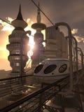flyg- sikt av den futuristiska staden med drevet Royaltyfri Fotografi