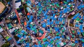 Flyg- sikt av den Gamcheon kulturbyn som lokaliseras i den Busan staden av arkivfoton