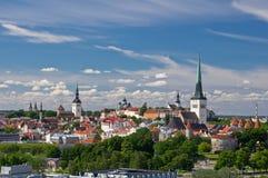 Flyg- sikt av den gamla staden av Tallinn Royaltyfria Foton