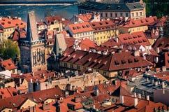 Flyg- sikt av den gamla staden i Prague, Tjeckien Royaltyfri Foto