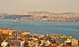 Flyg- sikt av den guld- horn- fjärden, Istanbul Arkivfoto
