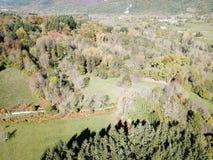 Flyg- sikt av den höstliga skogen och ängen i Pyrenean, Frankrike arkivbild