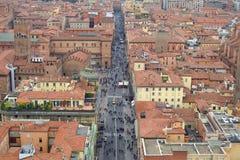 Flyg- sikt av den historiska mitten av bolognaen arkivfoto