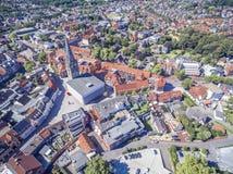 Flyg- sikt av den historiska staden Ahaus i Westphalia, Tyskland Royaltyfria Bilder