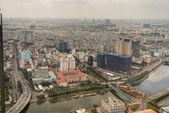 Flyg- sikt av den Ho Chi Minh City gamlan Saigon Arkivbild
