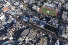Flyg- sikt av den Hollywood blvden i Los Angeles Kalifornien arkivfoton