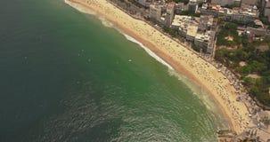 Flyg- sikt av den Ipanema stranden arkivfilmer