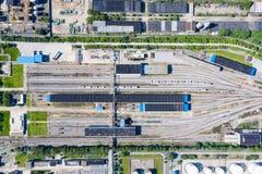 Flyg- sikt av den järnväg marshalling stationen royaltyfria foton