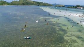 Flyg- sikt av den japanska ön och den forte- stranden stock video