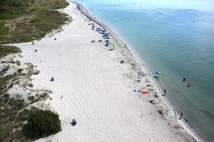 Flyg- sikt av den Key Biscayne stranden arkivfoton