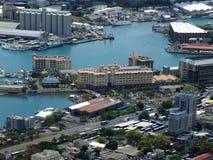 Flyg- sikt av den kommersiella kusten för Port-Louis Arkivbild