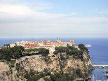Flyg- sikt av den kungliga slotten, Monaco royaltyfri bild