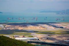 Flyg- sikt av den Lantau ön i Hong Kong royaltyfri foto
